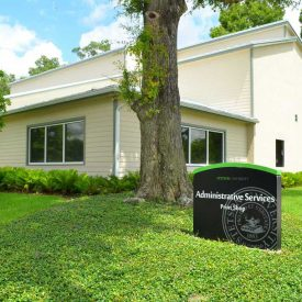 Stetson University Print Shop, DeLand with gutters & downspouts by Ed Senez